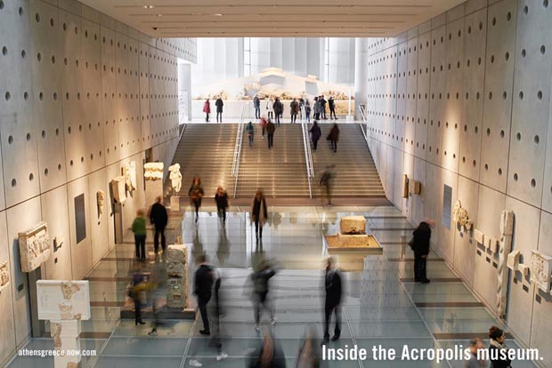 Inside of the Acropolis Museum in Athens Greece