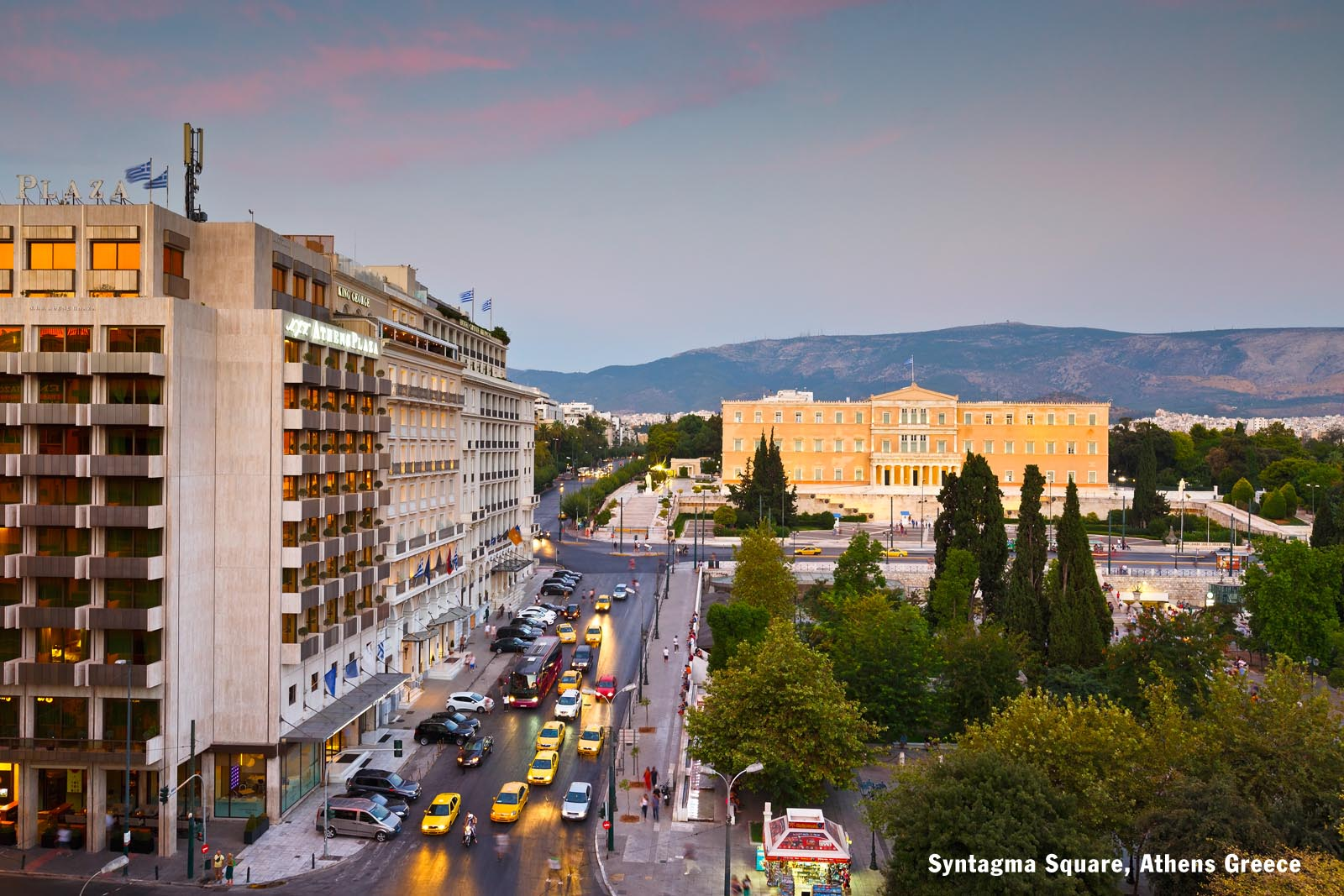 Enlarged - Syntagma Square AthensGreece with Hymettus in background