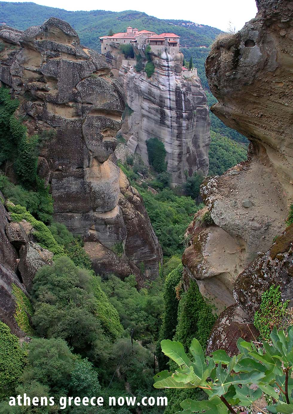 Meteora mountain peaks in Thessaly, Greece