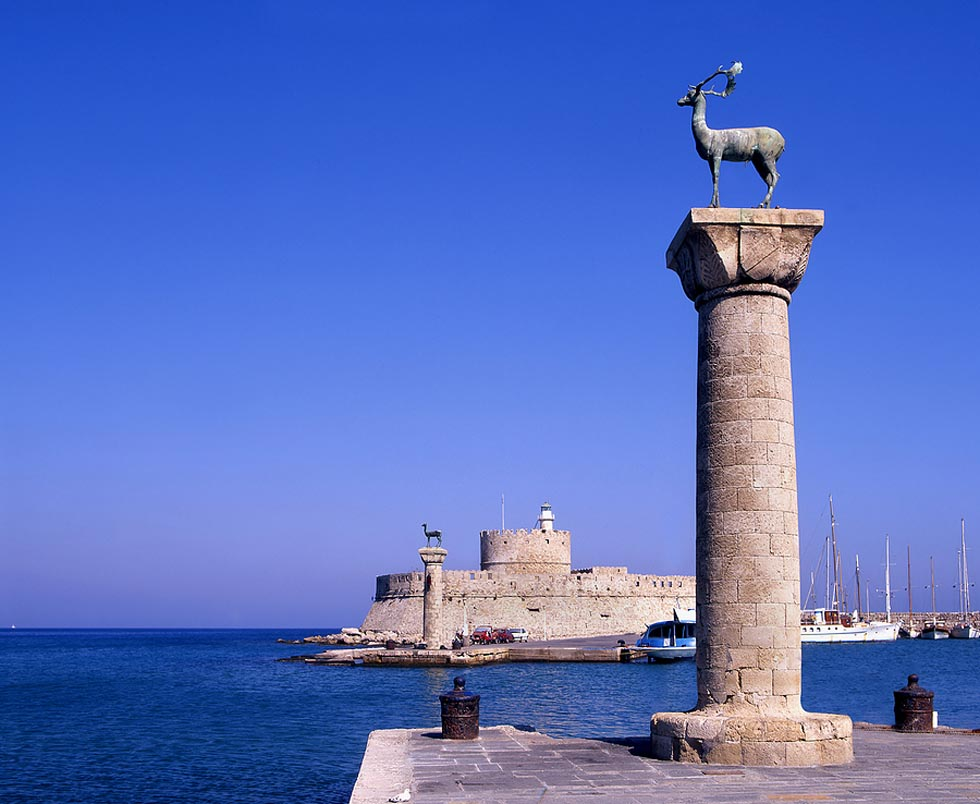 Rhodes Harbor entrance location of Colossus - Greece