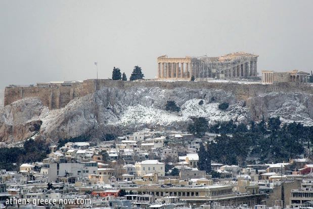 Snow on the Acropolis Greece Athens