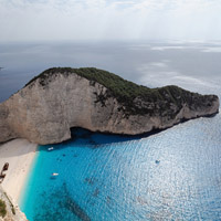 Zakynthos Greece called shipwreck beach